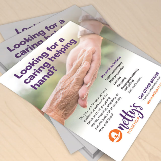Graphic Design Droitwich Worcestershire Nettys Home Help A5 Flyer